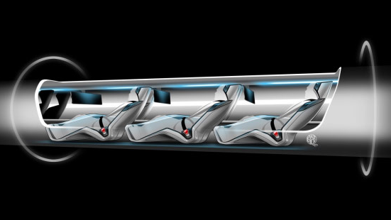 A rendering of a Hyperloop pod.