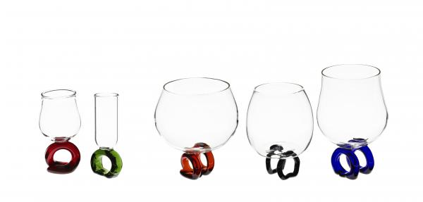 The miniature wineglasses and snifters are attached to colorful rings.