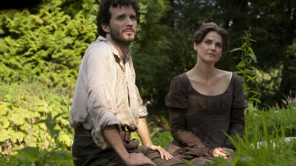 Keri Russell's Jane Hayes daydreams of the Regency life, complete with suitors as handsome and rough-hewn as Bret McKenzie's Martin, in <em>Austenland, </em>a big-screen adaptation of the Shannon Hale novel.