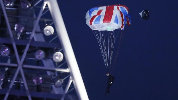 Stuntman Mark Sutton, doubling for actor Daniel Craig (or, as James Bond) during the Opening Ceremony of the London Olympics last summer.