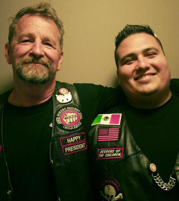 Happy Dodson (left) and Taz Roman are president and treasurer, respectively, of the Connecticut chapter of Bikers Against Child Abuse.