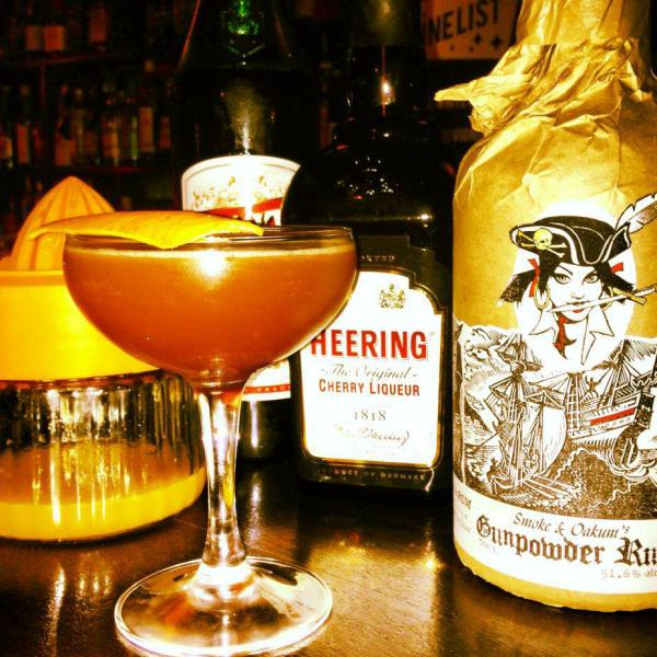 A blood and sand made with Ben Simpson's gunpowder-infused rum.