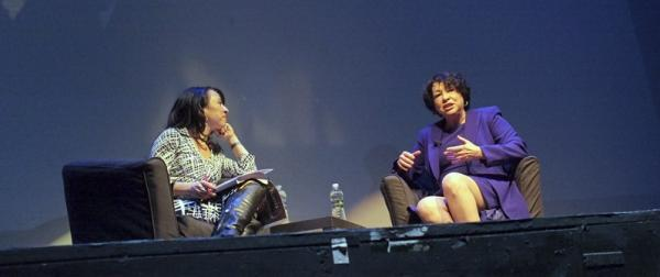 Maria Hinojosa, left, the host of Latino USA, interviews Sucpreme Court Justice Sonia Sotomayor. (Latino USA)