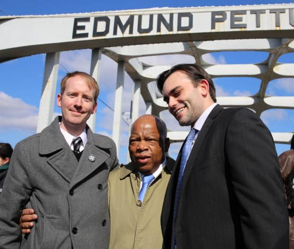 """March"" illustrator Nate Powell, left, and ""March"" co-authors Congressman John Lewis and Andrew Aydin. (Sandi Villarreal)"
