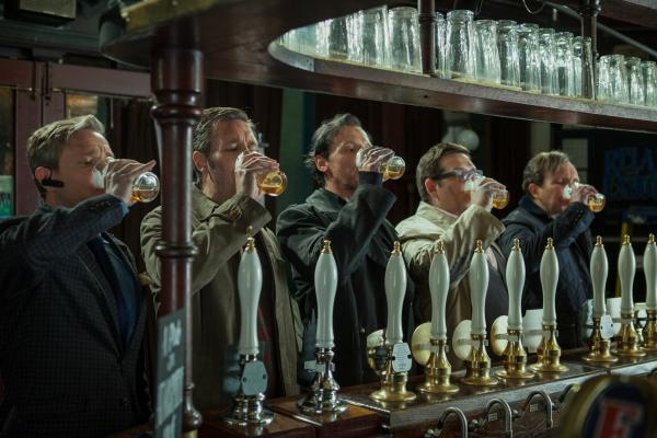 Martin Freeman (from left), Paddy Considine, Simon Pegg, Nick Frost and Eddie Marsan star as five old high school friends who reunite to finish an epic pub crawl in <em>The World's End,</em> directed by Edgar Wright.<em> </em>