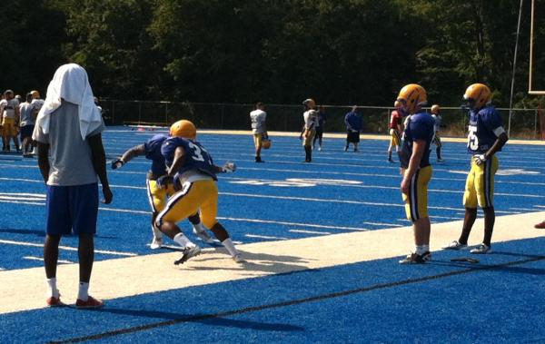 The University of New Haven Chargers in practice. (Harriet Jones/WNPR)