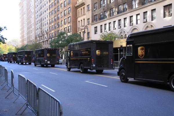 A line of UPS trucks in New York City. (Jeremy Vandel/Flickr)