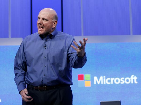 "Microsoft CEO Steve Ballmer speaks at the Microsoft ""Build"" conference in San Francisco in June."