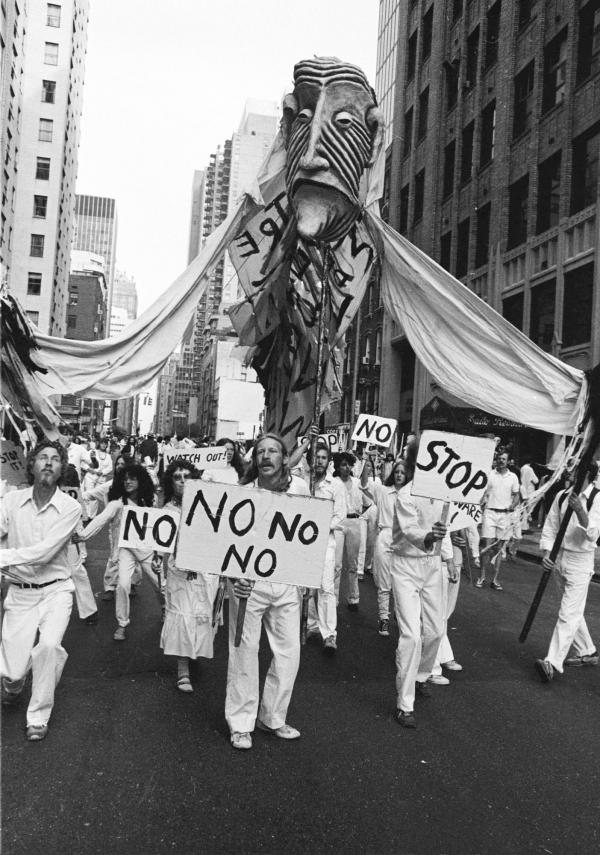 Bread and Puppet Theater performs during a protest in New York in June 1982.