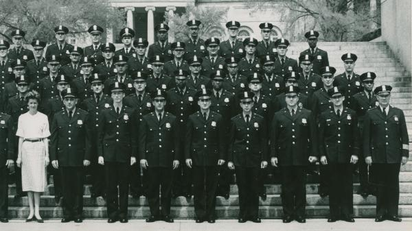 Joseph Burden (third row, third from right) with his graduating class at Washington, D.C.'s Metropolitan Police Department training academy in 1960. Every officer on the force was required to work the day of the March on Washington.