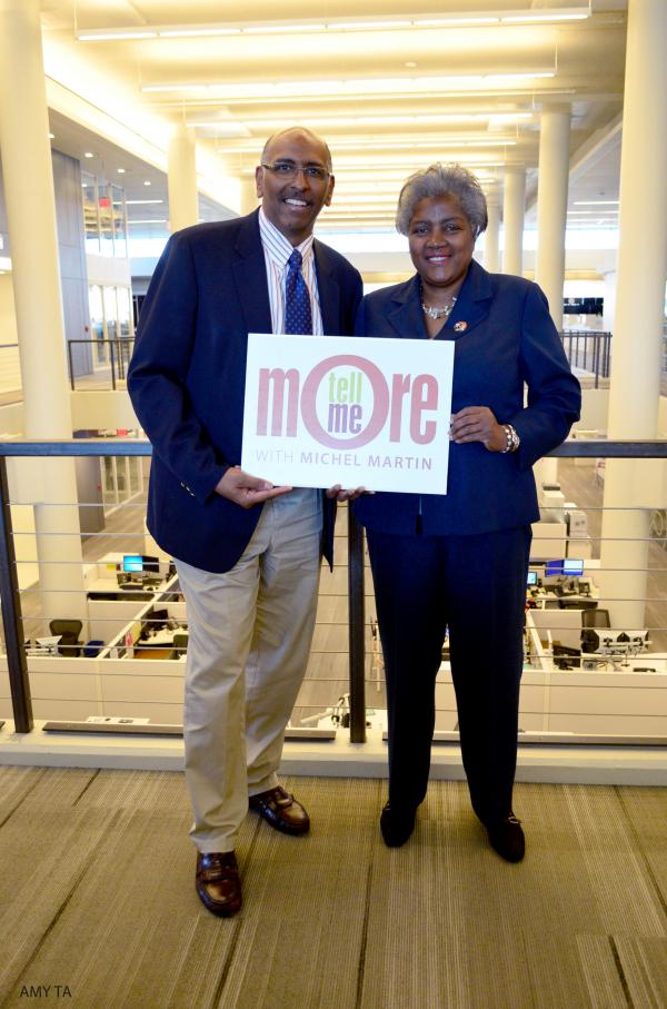 Former RNC chairman Michael Steele and Democratic strategist Donna Brazile after their conversation with <em>Tell Me More </em>host Michel Martin.