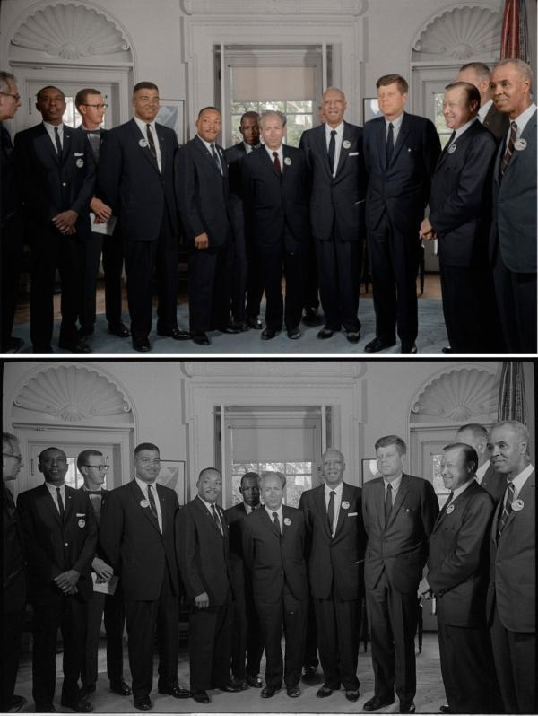 "Civil rights leaders meet with President John F. Kennedy in the oval office of the White House after the March on Washington. Colorized by <a href=""https://www.facebook.com/pages/Colorizedhistory/430760113645337?fref=ts"">Mads Madsen</a>."