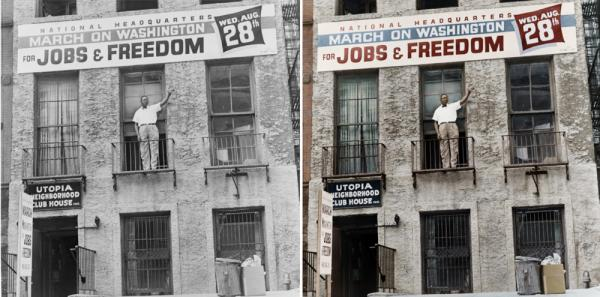 "Cleveland Robinson stands on the second floor balcony of the National Headquarters of the March on Washington in Harlem, N.Y. Colorized by <a href=""https://www.facebook.com/pages/Infused-With-Colour/171850249666818"">B. Cakebread</a>."