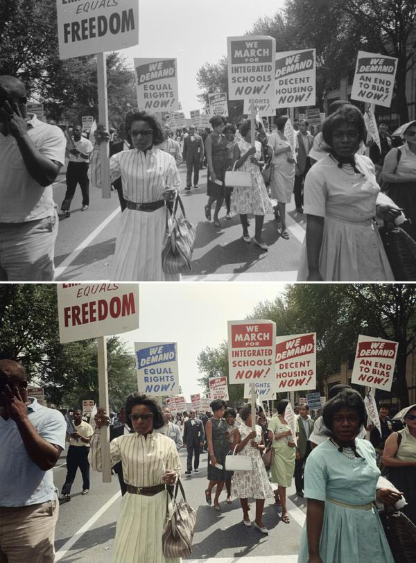 "Demonstrators march through the streets. Colorized by <a href=""http://cargocollective.com/Wistisen"">Oliver Wistisen</a>."