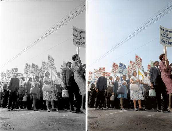 "Demonstrators march through the streets. Colorized by <a href=""https://www.facebook.com/photoretrofit"">Paul Edwards</a>."