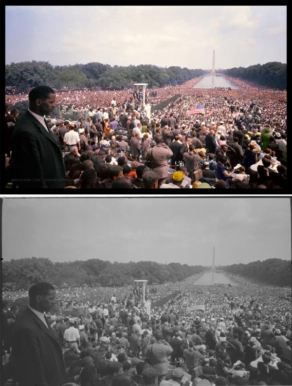 "View of the huge crowd from the Lincoln Memorial to the Washington Monument. Colorized by <a href=""https://www.facebook.com/photochopshop"">Jordan J. Lloyd</a>."