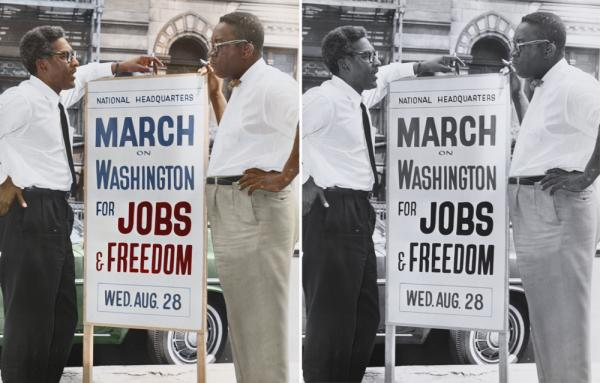 "Bayard Rustin (left), deputy director of the March on Washington, and Cleveland Robinson, chairman of administrative committee. Colorized by <a href=""https://www.facebook.com/pages/Cyriel-Roumen/1400402486852835?fref=ts"">Cyriel Roumen</a>."