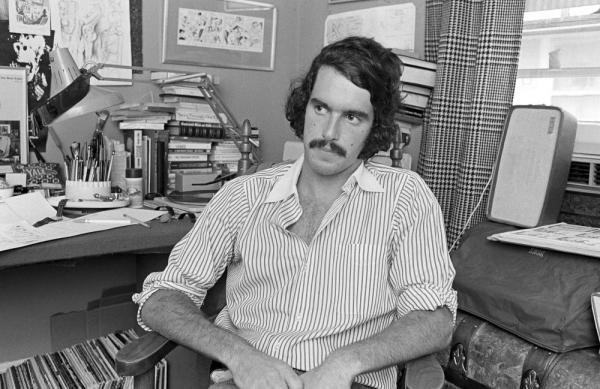 "Trudeau, 24, at his office in December 1972. ""It was an utter novelty,"" Trudeau, now 62, says of <em>Doonesbury</em>. ""Nobody had seen anything quite like it."""