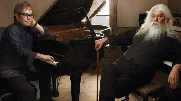 Elton John and Leon Russell appeared on <em>World Cafe</em>.