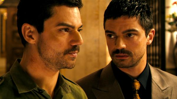 In <em>The Devil's Double</em>, Dominic Cooper  plays two characters: Saddam Hussein's oldest son, Uday, and Iraqi  military man Latif Yahia, who was made to undergo plastic surgery so he could  become Uday's body double.