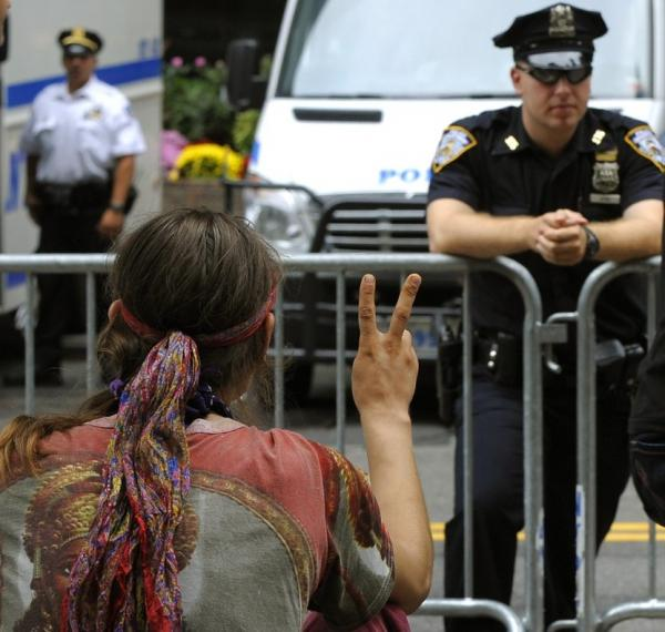 """Demonstrators with """"Occupy Wall Street"""" occupy Zuccotti Park in New York. The encampment in the financial district of New York City is now on Day 13."""