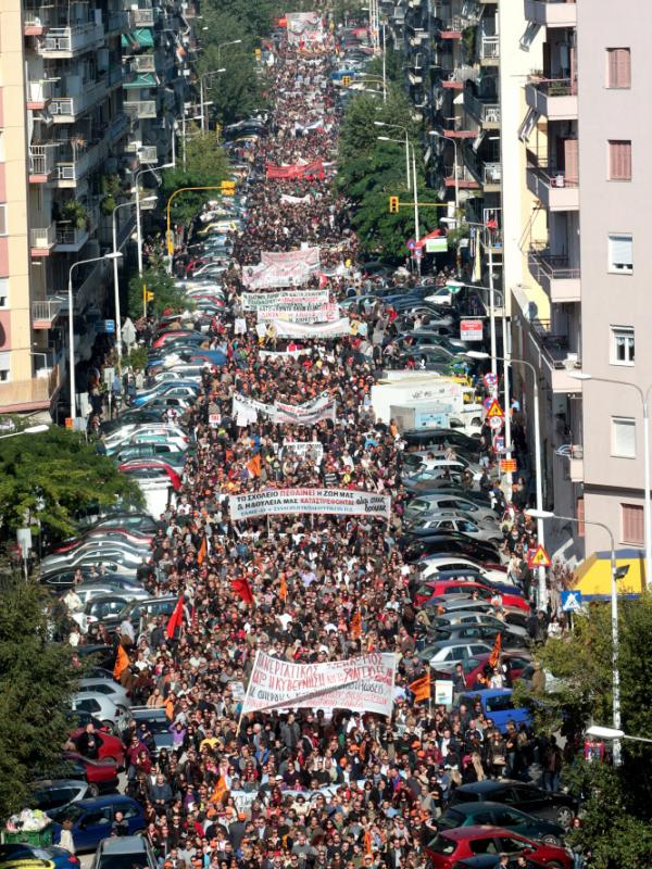 <p>Thousands of people massed in Thessaloniki to rail against proposed legislation that includes fresh tax increases as well as yet more wage, pension and job cuts. Parliament was expected to vote on the bill Thursday.</p>