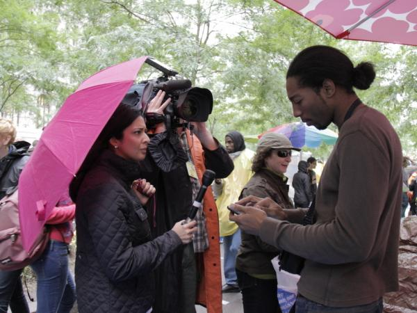 <p>Hero Vincent joined the Occupy Wall Street protests at the beginning. He's frequently seen on camera on the group's Livestream, and has also been interviewed by other media organizations.</p>