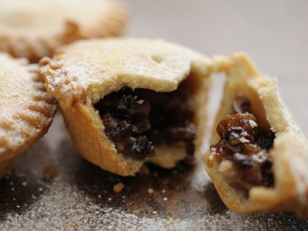 The modern mince pie is typically filled with raisins, sugar, and spices.