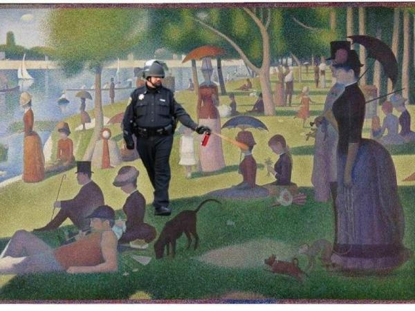 "Spraying in the park (""A Sunday Afternoon on the Island of La Grande Jatte"" by George Seurat)."