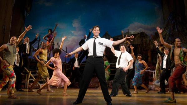 <em>The Book of Mormon</em> features music and lyrics by Trey Parker, Robert Lopez and Matt Stone and plays at the Eugene O'Neill Theatre in New York City.