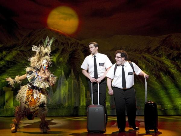 Rema Webb, Andrew Rannells and Josh Gad star in <em>The Book of Mormon</em>, a musical created by <em>South Park</em>'s Trey Parker and Matt Stone.