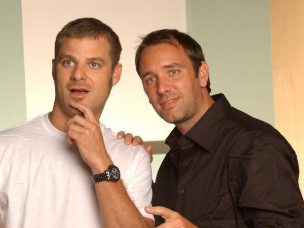 While in college, Matt Stone (left) and Trey Parker wrote and directed a black comedy called <em><em><em><em>Cannibal! </em>The </em>Musi</em>cal.</em> A Fox executive saw the film and commissioned the duo to create an animated short, which eventually led to the creation of <em>South Park</em>.