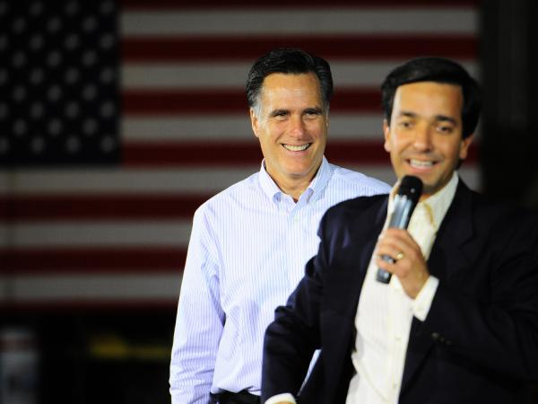 Puerto Rico Gov. Luis Fortuno endorsed Mitt Romney at a campaign rally in Orlando, Fla., on Friday.