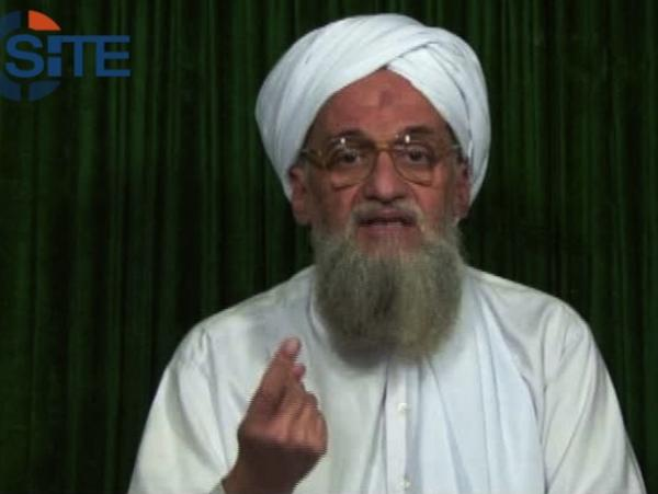 This frame grab from video provided by the SITE Intel Group shows al-Qaida's leader Ayman al-Zawahiri calling on Muslims to support rebels in Syria. The video was released earlier this month.