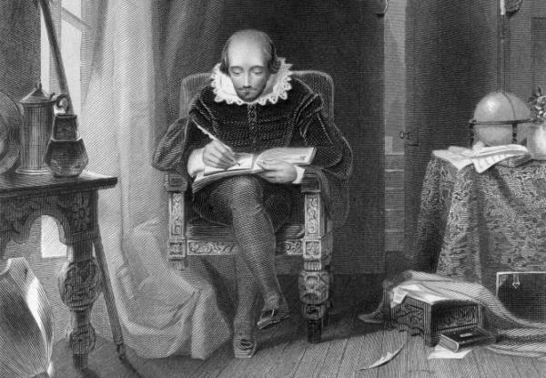 How were William Shakespeare's words pronounced more than 400 years ago? A new recording from the British Library aims to replicate the authentic accent of Shakespeare's day. Above, a depiction of the dramatist at work in his study, by A.H. Payne.