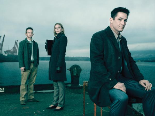 Jamie Wright (Eric Ladin), Gwen Eaton (Kristin Lehman) and Darren Richmond (Billy Campbell) return in AMC's <em>The Killing</em>.