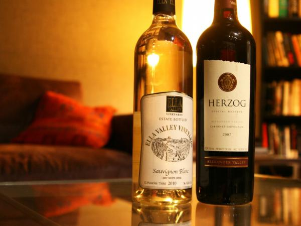 The sauvignon blanc 2010 (left) is from the Ella Valley Vineyards in Israel and has a fresh, vibrant and fruity flavor. The Herzog 2007 Special Reserve cabernet sauvignon (right) is from the Alexander Valley of California. It's a <em>mevushal</em> bottle that remains kosher even if served by a non-Jew.
