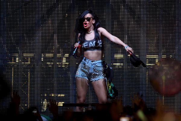"Rihanna performs during a set by DJ and producer Calvin Harris, who produced the singer's hit ""We Found Love,"" during the first weekend of the 2012 Coachella Valley Music & Arts Festival in Indio, Calif."