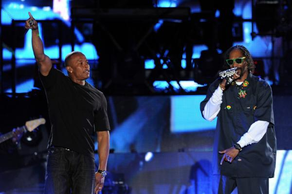 Other guests who performed with Dre (at left) and Snoop during Coachella's first weekend included Eminem, 50 Cent, Wiz Khalifa and Kendrick Lamar.