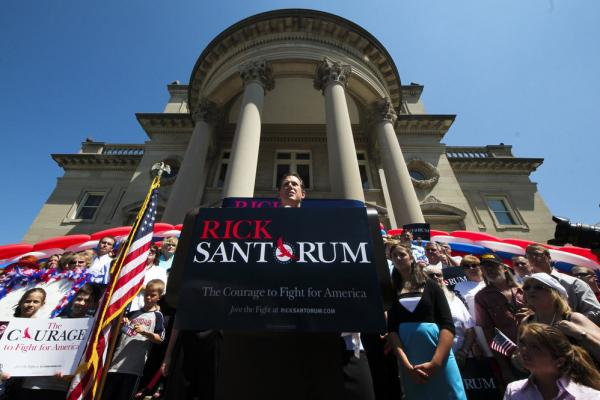 Santorum announces his bid for the Republican nomination in Somerset, Pa., on June 6, 2011.
