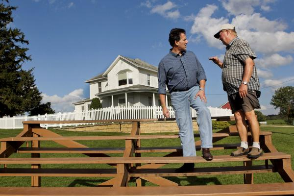 Campaigning in August, Santorum stops at the Dyersville, Iowa, farm where the movie <i>Field of Dreams</i> was filmed.