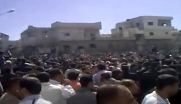 Demonstrators protest at an unidentified location, in this image grab obtained by AFPTV from YouTube on March 18.