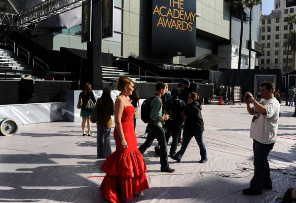 KTLA News reporter Wendy Burch poses on the red carpet during early preparations for the awards ceremony.