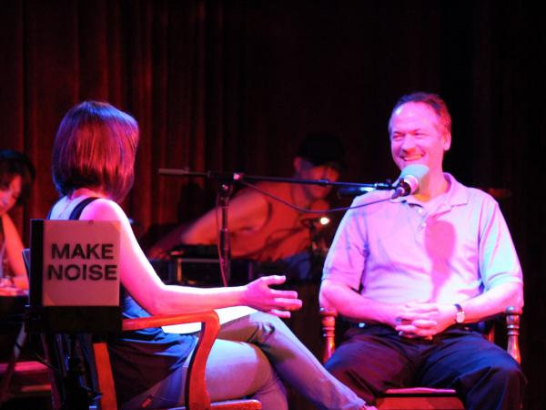 Puzzle master Will Shortz on the <em>Ask Me Another</em> stage.