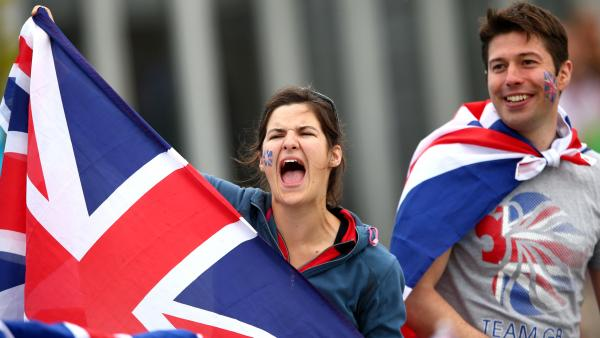 <strong>Great Britain, By Jingo!:</strong> Fans cheer Team GB at a rowing event in Windsor, England.