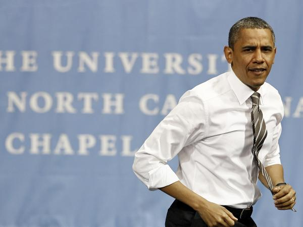 President Obama walks onto the stage before speaking at the University of North Carolina in Chapel Hill on April 24.