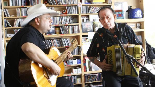 Flaco Jimenez and Max Baca play a Tiny Desk Concert on Oct. 3.