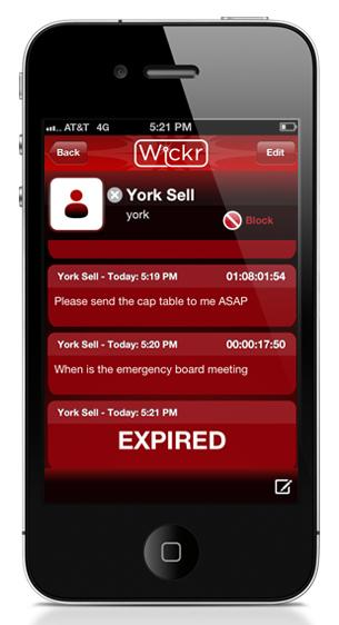 The Wickr iPhone app allows users to create self-destructing messages.