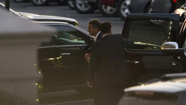 "House Speaker John Boehner arrives at the White House on Thursday for a meeting with President Obama. The two men met again in private on Monday in an effort to reach a deal to avoid the ""fiscal cliff."""