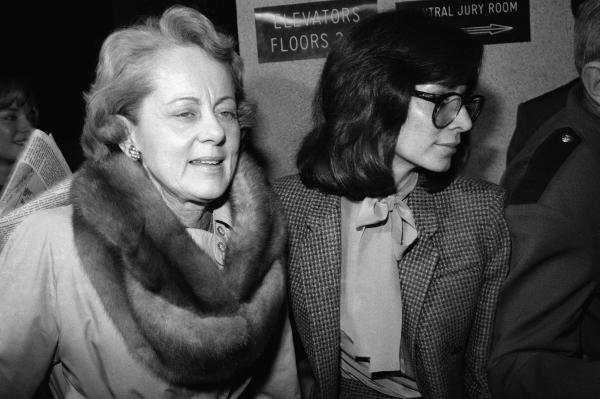 Jean Harris, left, arrives at court in White Plains, New York on Feb. 9, 1981, accompanied by a defense attorney.